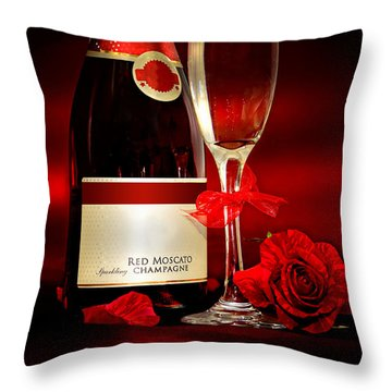 Champagne With Red Roses And Petals Throw Pillow