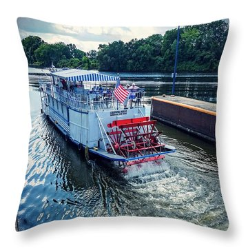 Throw Pillow featuring the photograph Champlain Canal Patriot by Kendall McKernon