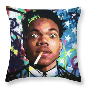 Chance The Rapper Throw Pillow by Richard Day