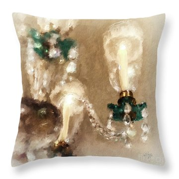 Throw Pillow featuring the digital art Chandelier At Winterthur by Lois Bryan