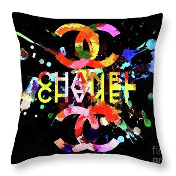 Chanel Blacky Black Throw Pillow