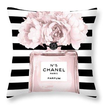 Chanel N.5, Black And White Stripes Throw Pillow