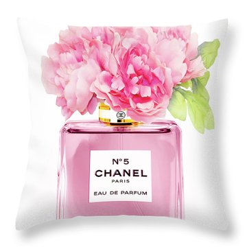 Chanel N5 Pink With Flowers Throw Pillow