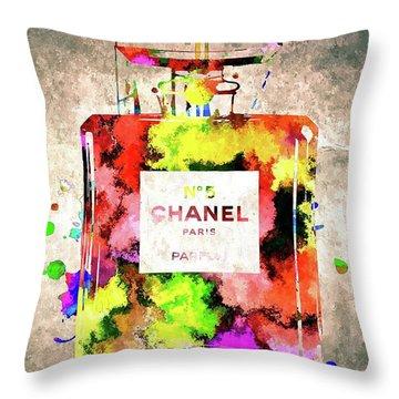 Chanel No 5 Throw Pillow by Daniel Janda