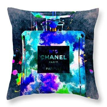 Chanel No 5 Dark Grunge Throw Pillow by Daniel Janda