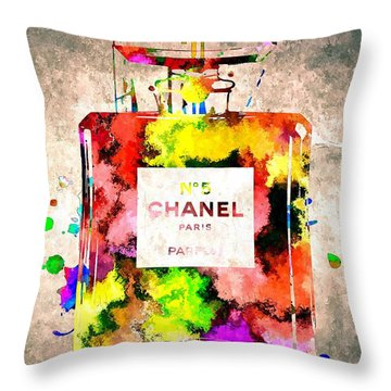 Chanel No 5 Grunge Throw Pillow by Daniel Janda