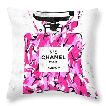 Chanel No. 5 Pink Army Throw Pillow by Daniel Janda