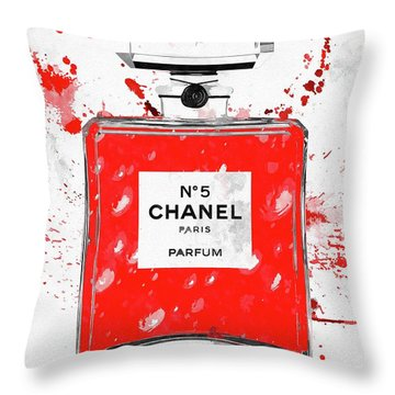Chanel No 5 Red Throw Pillow