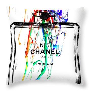 Chanel No. 5 Watercolor Throw Pillow by Daniel Janda