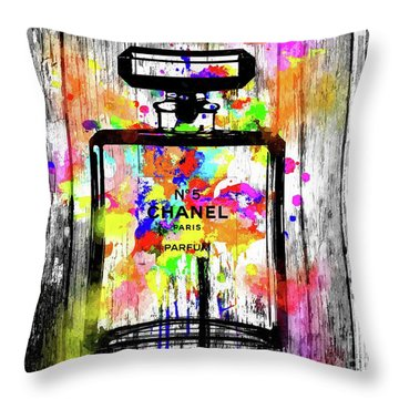 Chanel No. 5  Wooden Throw Pillow