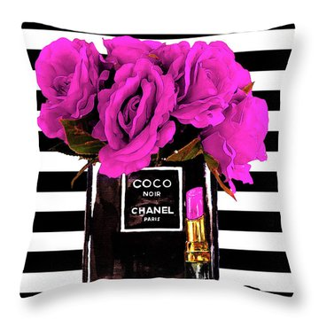 Chanel Noir Perfume With Flowers Throw Pillow