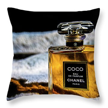 Throw Pillow featuring the photograph Chanel Vintage Perfume Bottle by Renee Anderson
