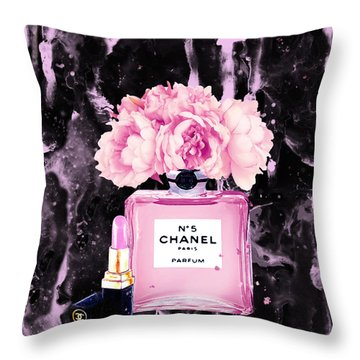 Chanel Print Chanel Poster Chanel Peony Flower Black Watercolor Throw Pillow