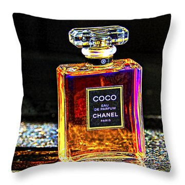 Throw Pillow featuring the photograph Chanel Vintage Perfume Botte -2 by Renee Anderson