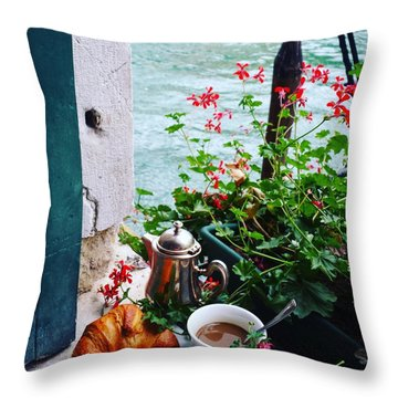 Chanel View Breakfast In Venezia Throw Pillow