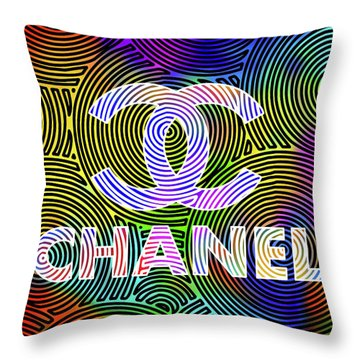 Chanel With Multi Color Background Throw Pillow