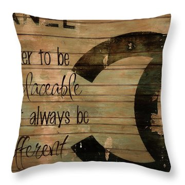 Chanel Wood Panel Rustic Quote Throw Pillow