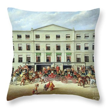 Changing Horses Outside The Plough Inn Throw Pillow by JC Maggs