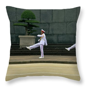 Changing Of Guard At Ho Chi Minh Mausoleum Throw Pillow
