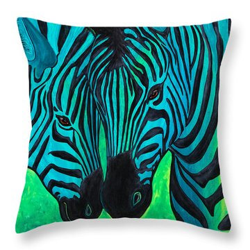 Throw Pillow featuring the painting Changing Stripes by Dede Koll