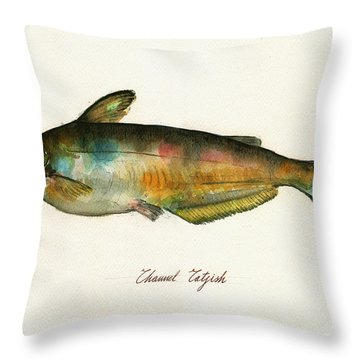 Channel Catfish Fish Animal Watercolor Painting Throw Pillow