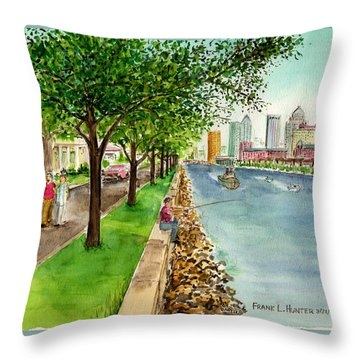 Channel Drive Tampa Florida Throw Pillow by Frank Hunter