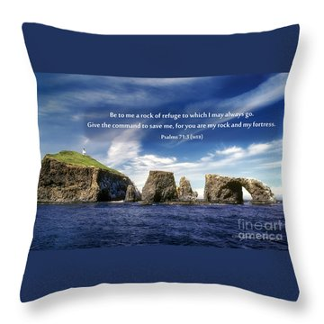 Channel Island National Park - Anacapa Island Arch With Bible Verse Throw Pillow