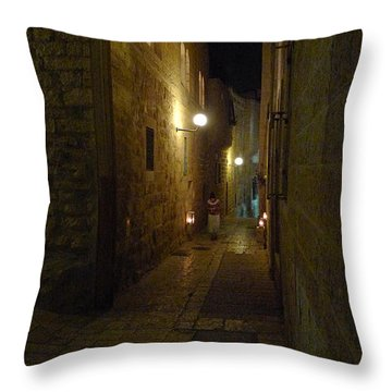 Throw Pillow featuring the photograph Chanukah At The Old City Of Jerusalem by Dubi Roman