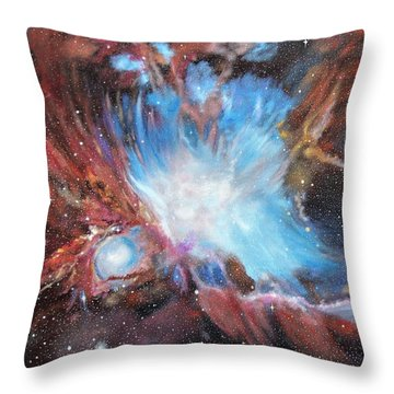 Throw Pillow featuring the painting Chaos In Orion by Ken Ahlering