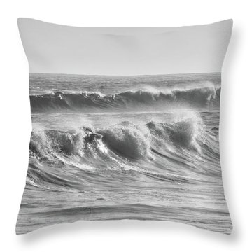 Chaotic Waves In Black And White Throw Pillow