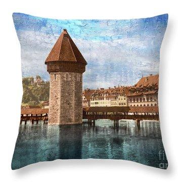 Chapel Bridge In Lucerne Throw Pillow