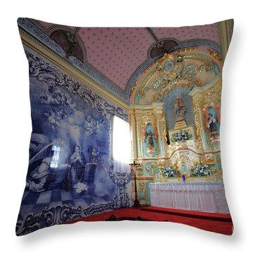 Chapel In Azores Islands Throw Pillow by Gaspar Avila