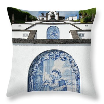 Chapel In The Azores Throw Pillow by Gaspar Avila