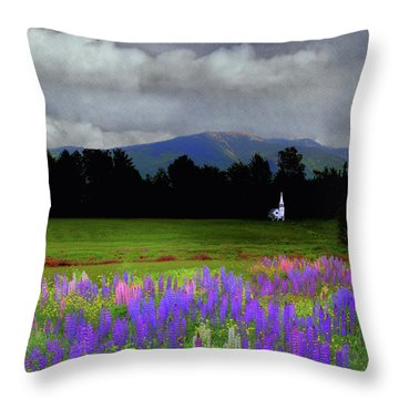 Chapel In The Lupine Mindscape Throw Pillow