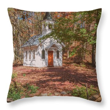 Chapel In Woods At Red Mill 3 Throw Pillow