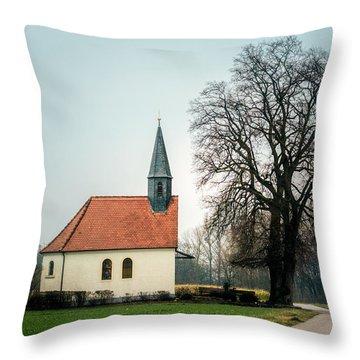 Chapel Under The Tree Throw Pillow by Daniel Precht