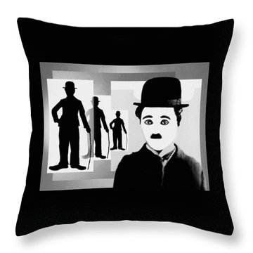 Chaplin, Charlie Chaplin Throw Pillow by Hartmut Jager