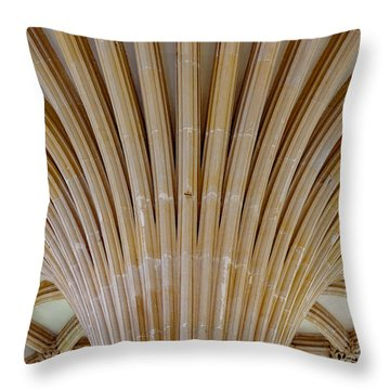 Throw Pillow featuring the photograph Chapter House Ceiling, Wells Cathedral. by Colin Rayner