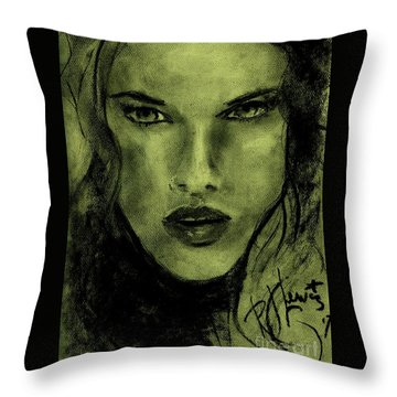 Throw Pillow featuring the drawing char-Carol by P J Lewis
