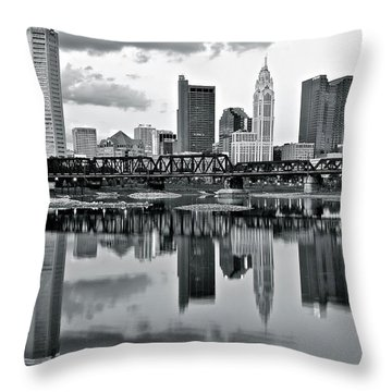 Charcoal Columbus Mirror Image Throw Pillow