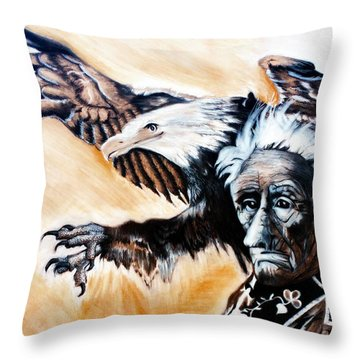 Charcoal Drawing Of Gabenahgweywence By Ayasha Loya Throw Pillow