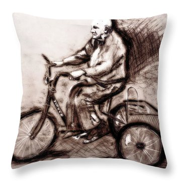 Charcoal Drawing Of Pedal To The Metal By Ayasha Loya Throw Pillow