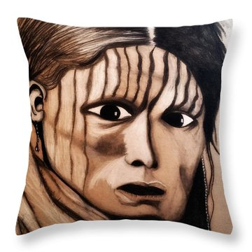 Charcoal Drawing Of White Belly. Sioux. 1900 By Ayasha Loya Throw Pillow