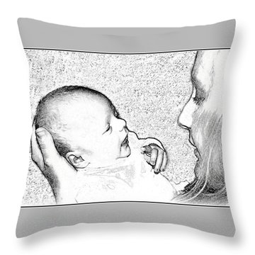 Charcoal Portrait Throw Pillow