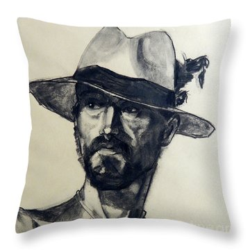 Charcoal Portrait Of A Man Wearing A Summer Hat Throw Pillow