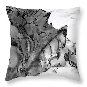 Charcoal Sea Rocks Throw Pillow
