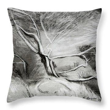 Charcoal Tree Throw Pillow
