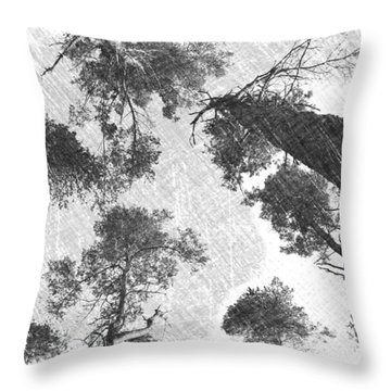 Charcoal Trees Throw Pillow by RKAB Works