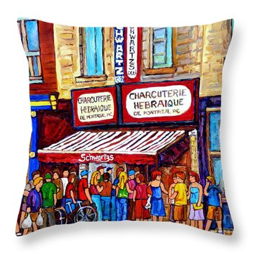 Charcuterie Hebraique Schwartz Line Up Waiting For Smoked Meat Montreal Paintings Carole Spandau     Throw Pillow