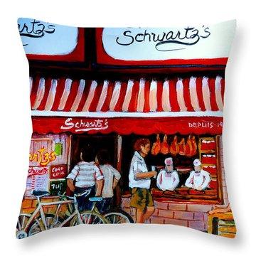 Charcuterie Schwartz's Deli Montreal Throw Pillow by Carole Spandau